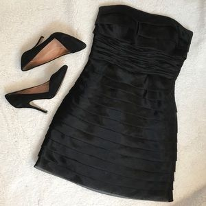 BCBG Paris black panel ruched cocktail dress